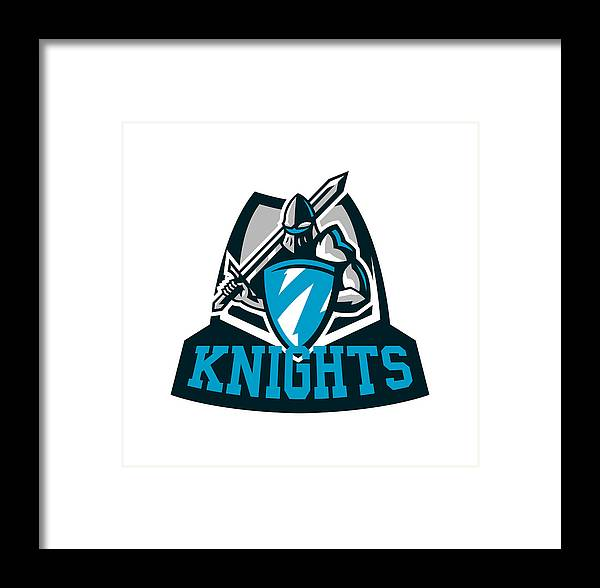 Colorful , Knight S Emblem In Iron Armor  A Warrior Of The Middle Ages, A  Knight Holds A Shield And A Sword, Swordsman, Warrior, Defender, Lettering