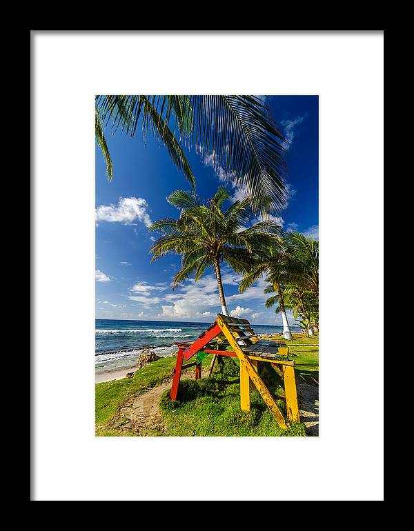 Bay Framed Print featuring the photograph Colorful Bench On Caribbean Coast by Jess Kraft