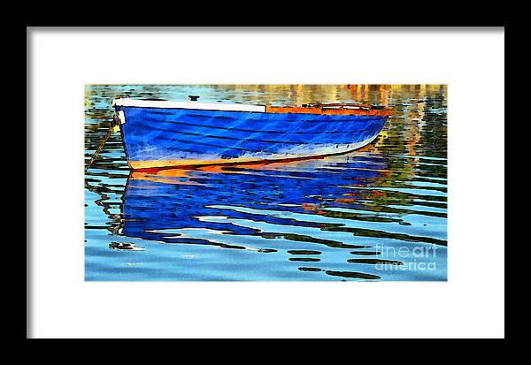 Boat Framed Print featuring the painting Colorful Boat On The Water by Odon Czintos