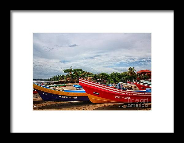 Light House Canvas Prints Framed Print featuring the photograph Colorful Boats And Lighthouse by Jonas Clark