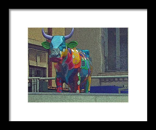Colors Framed Print featuring the photograph Colorful Bull by Karen Kammer