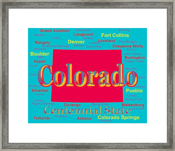 Colorful Colorado State Pride Map Silhouette Framed Print By Keith