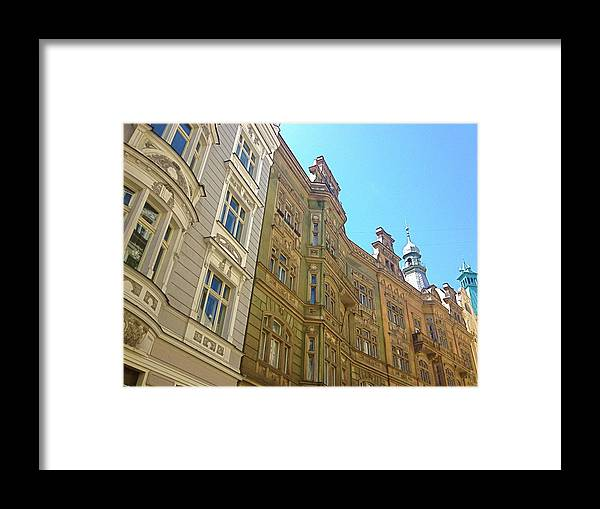 Craftsmanship Framed Print featuring the photograph Colorful Czech Buildings II by Hannah Rose
