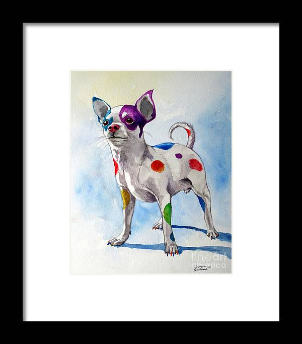 Chihuahua Framed Print featuring the painting Colorful Dalmatian Chihuahua by Christopher Shellhammer