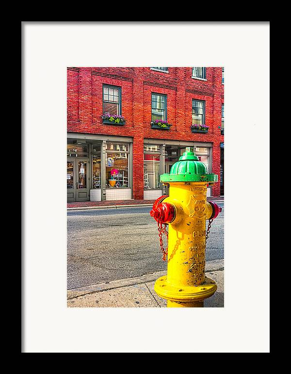Asehville Framed Print featuring the photograph Colorful Fire Hydrant On The Streets Of Asheville by Mark E Tisdale