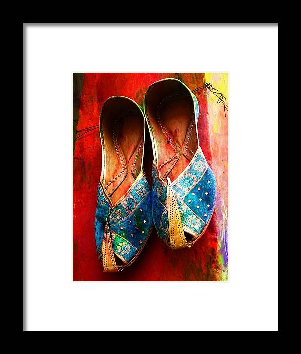 fab344912224 Colourful Footwear Framed Print featuring the photograph Colorful Footwear  Juttis Sales Jaipur Rajasthan India by Sue