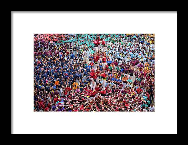 Crown Framed Print featuring the photograph Colorful Human Towers Castellers View by Artur Debat