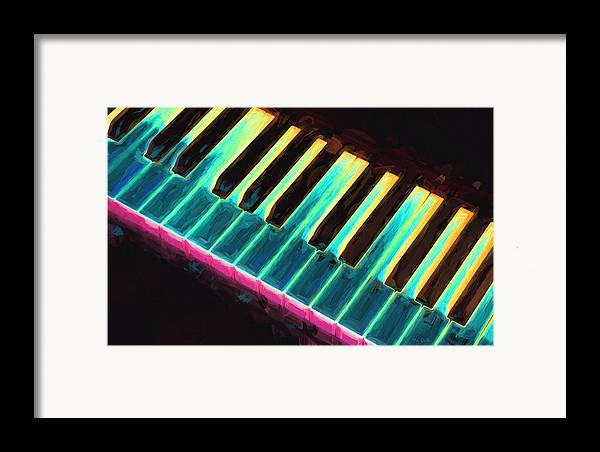 Piano Framed Print featuring the painting Colorful Keys by Bob Orsillo