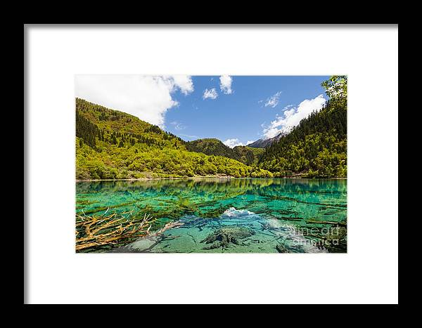 Scenic Framed Print featuring the photograph Colorful Lake At Jiuzhaigou China by Fototrav Print
