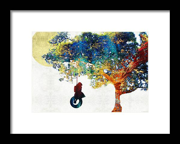 Tree Framed Print featuring the painting Colorful Landscape Art - The Dreaming Tree - By Sharon Cummings by Sharon Cummings