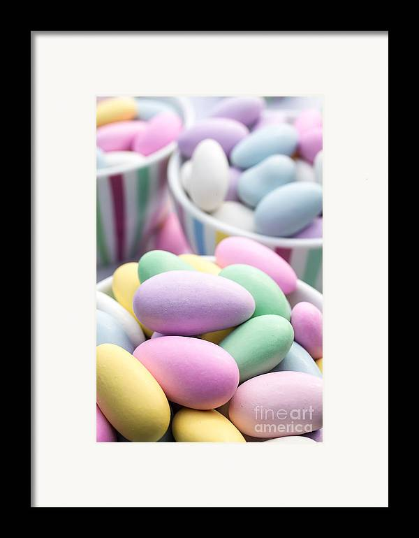 Food Framed Print featuring the photograph Colorful Pastel Jordan Almond Candy by Edward Fielding