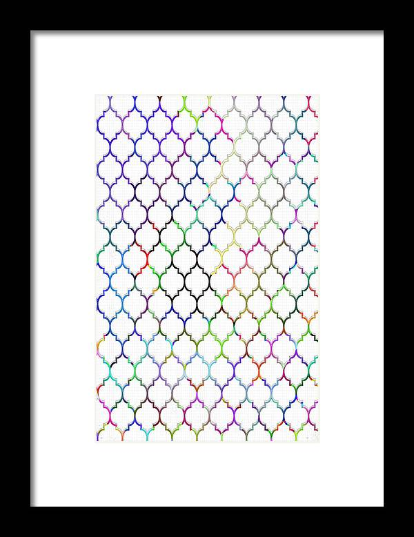 Colorful Framed Print featuring the digital art Colorful Quatrefoil by Cassie Peters