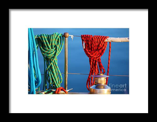 Rope Framed Print featuring the photograph Colorful Rope Detail On Yacht by Konstantin Sutyagin