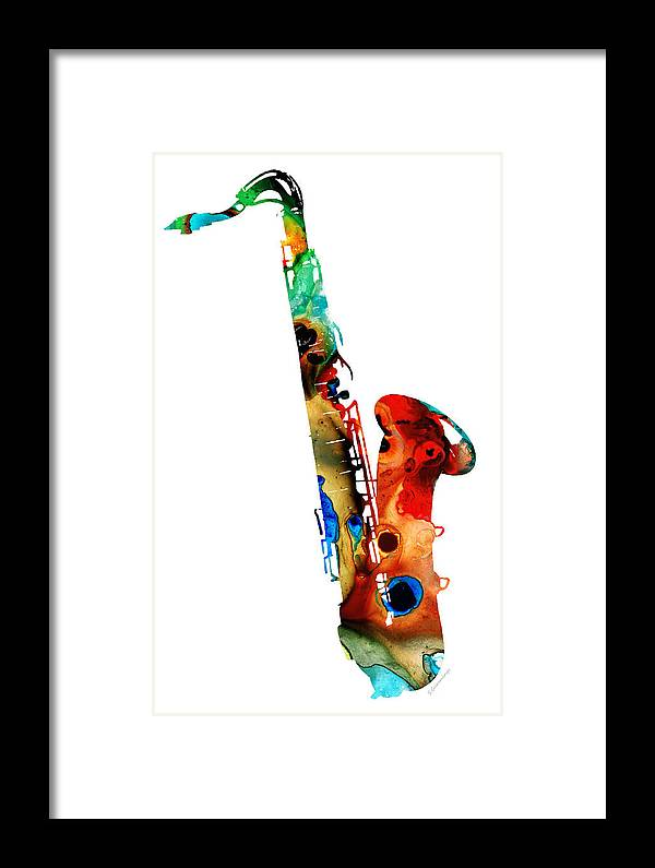 Saxophone Framed Print featuring the painting Colorful Saxophone By Sharon Cummings by Sharon Cummings