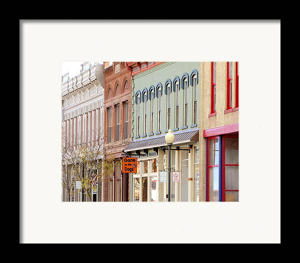 Shops Framed Print featuring the photograph Colorful Shops Quaint Street Scene by Ann Powell