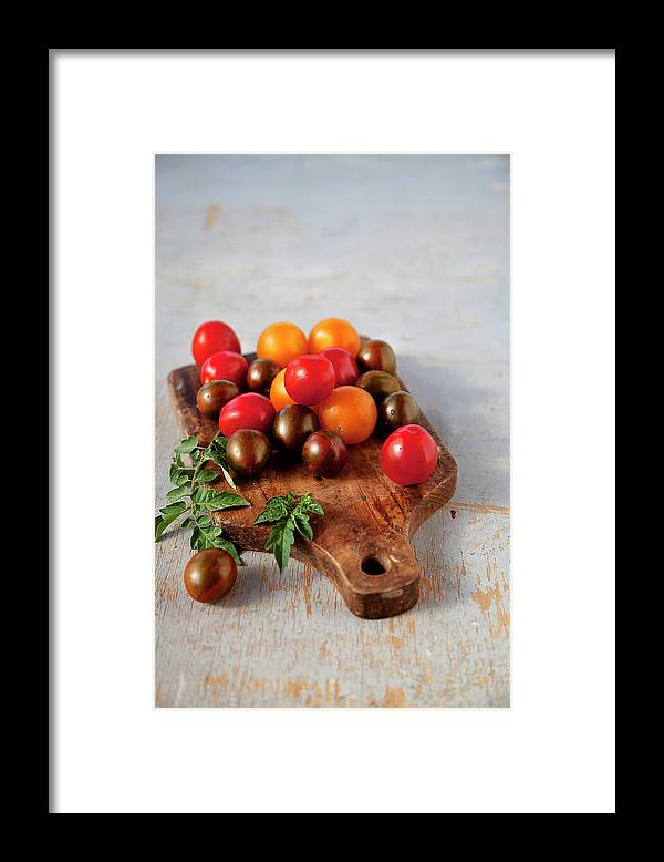 Cutting Board Framed Print featuring the photograph Colorful Tomatoes by ©tasty Food And Photography