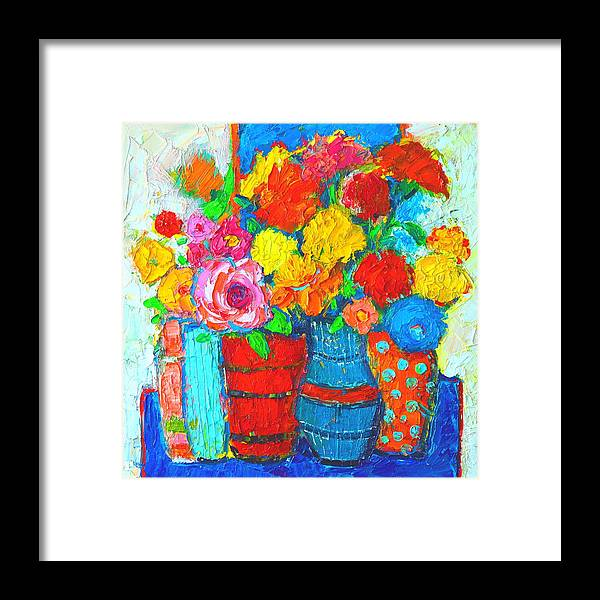 Colorful Vases And Flowers Abstract Expressionist Painting Framed Print