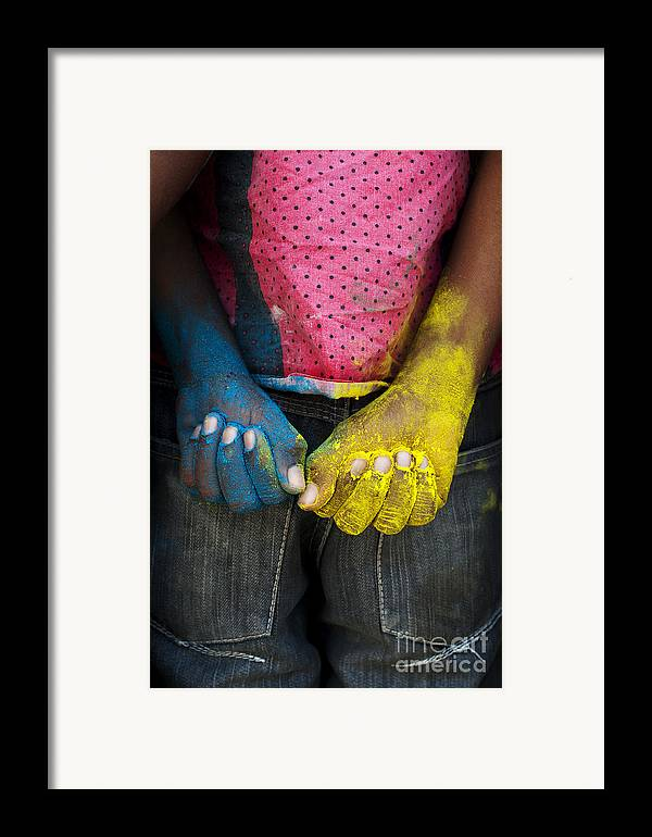 Indian Boy Framed Print featuring the photograph Coloured Hands by Tim Gainey