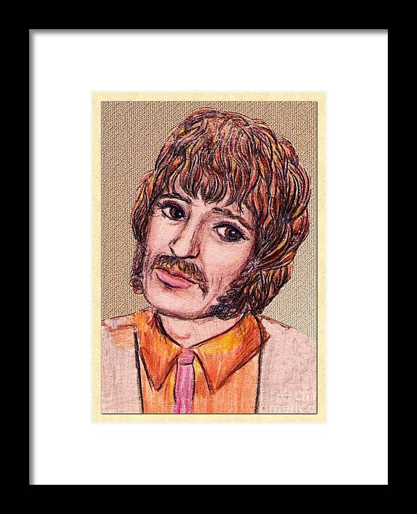 Coloured Pencil Art Framed Print featuring the drawing Coloured Pencil Portrait by Joan-Violet Stretch