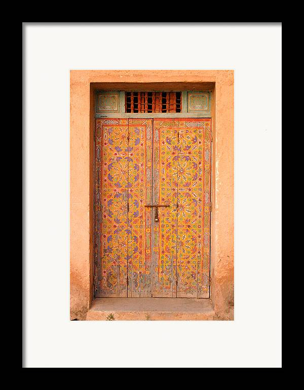 Door Framed Print featuring the photograph Colourful Entrance Door Sale Rabat Morocco by Ralph A Ledergerber-Photography