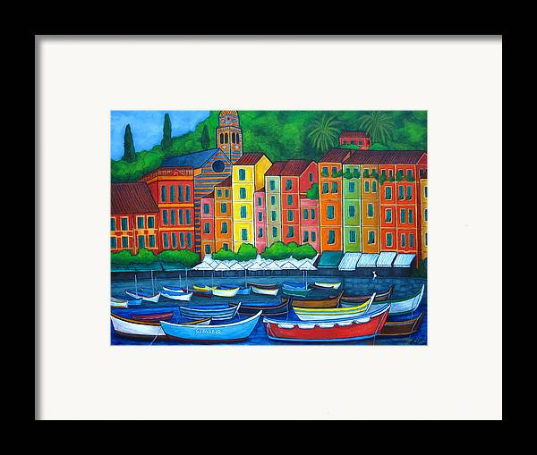 Portofino Framed Print featuring the painting Colours Of Portofino by Lisa Lorenz