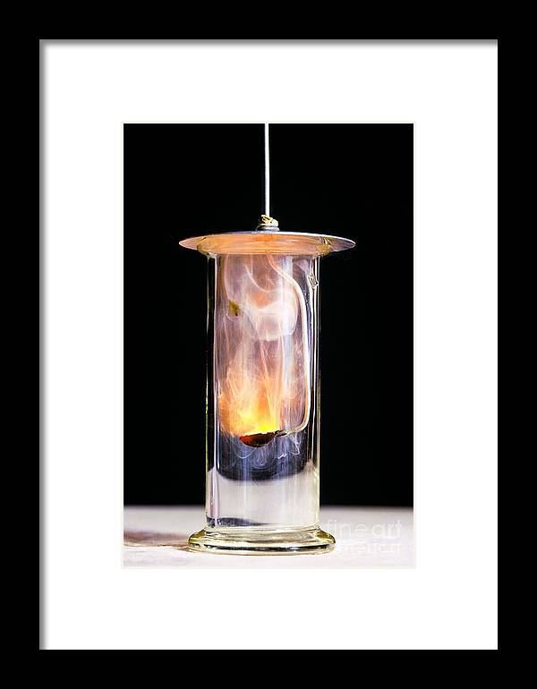 Sodium Framed Print featuring the photograph Combustion Of Sodium by Martyn F. Chillmaid