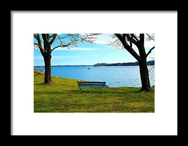 Meditation Bench Framed Print featuring the digital art Come Sit by David Schneider