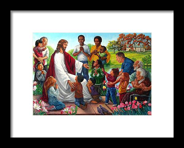 Children Framed Print featuring the painting Come Unto Me by John Lautermilch
