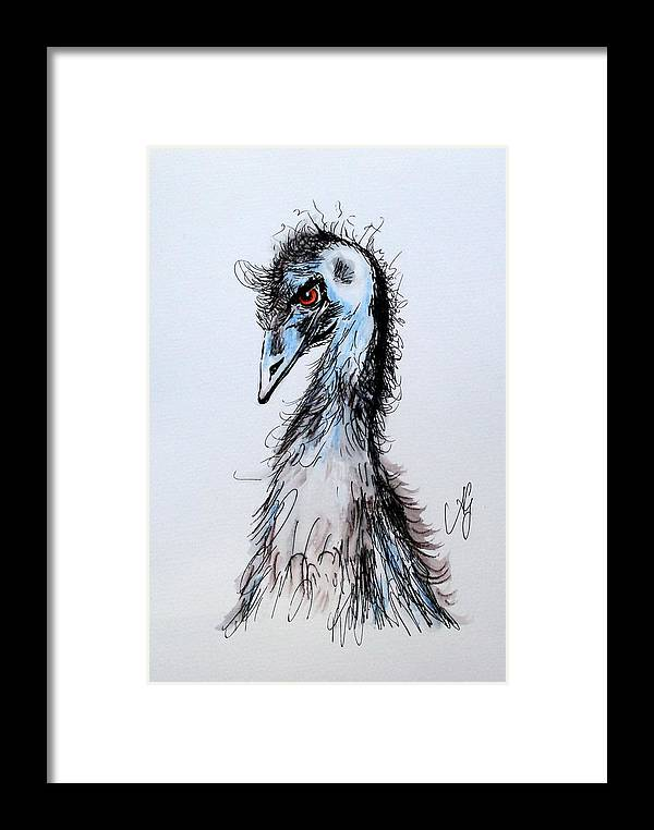 Emu Framed Print featuring the painting Come Up Sometime And See Me by Anne Gardner
