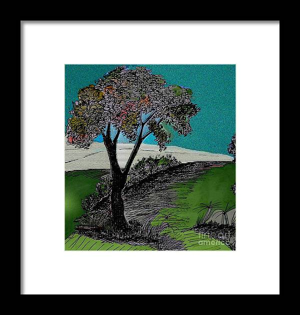 Tree Framed Print featuring the drawing Come Walk With Me by Iris Gelbart