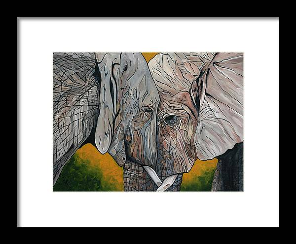 Elephant Framed Print featuring the painting Comfort by Aimee Vance