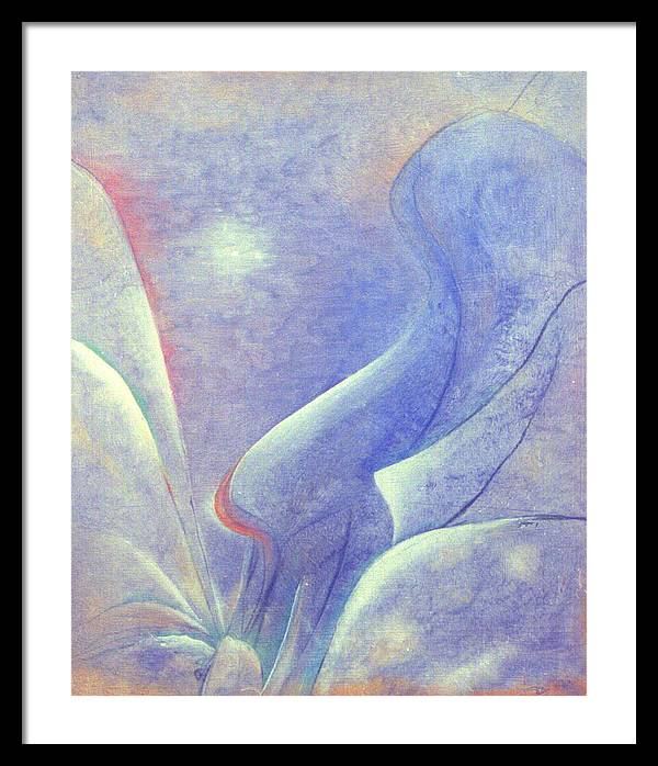 Blue Framed Print featuring the painting Comfort by Ingela Christina Rahm