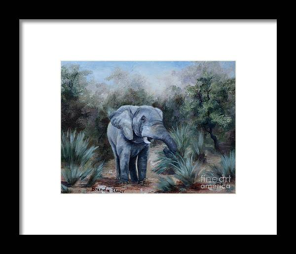 Wildlife Framed Print featuring the painting Coming Through by Brenda Thour