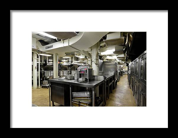 Horizontal Framed Print featuring the photograph Commercial Kitchen Aboard Battleship by Stocktrek Images