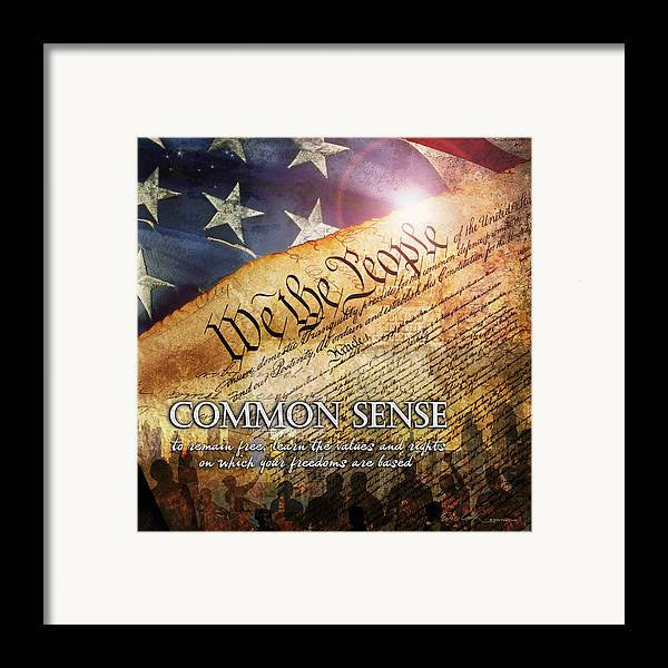 Constitution Framed Print featuring the digital art Common Sense by Evie Cook