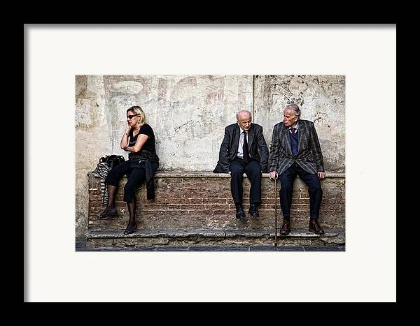 Street Photography Framed Print featuring the photograph Communication by Dave Bowman