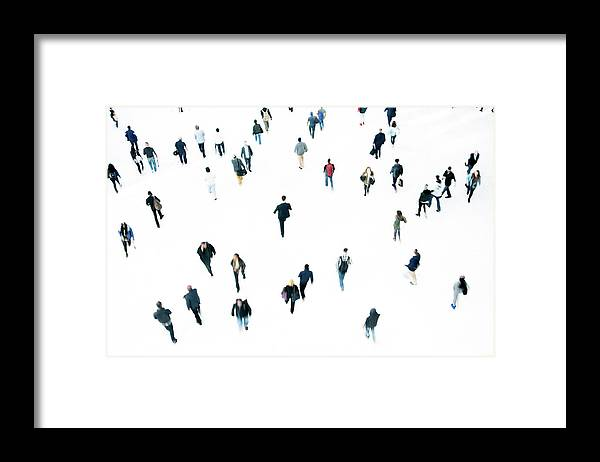 Working Framed Print featuring the photograph Commuters by Ferrantraite