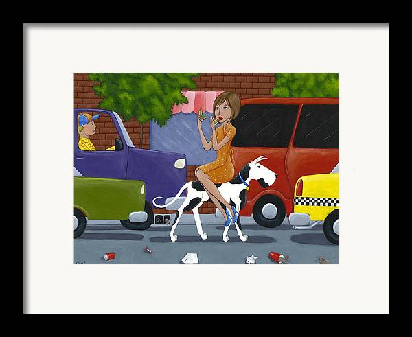 Dog Framed Print featuring the painting Commuting by Christy Beckwith