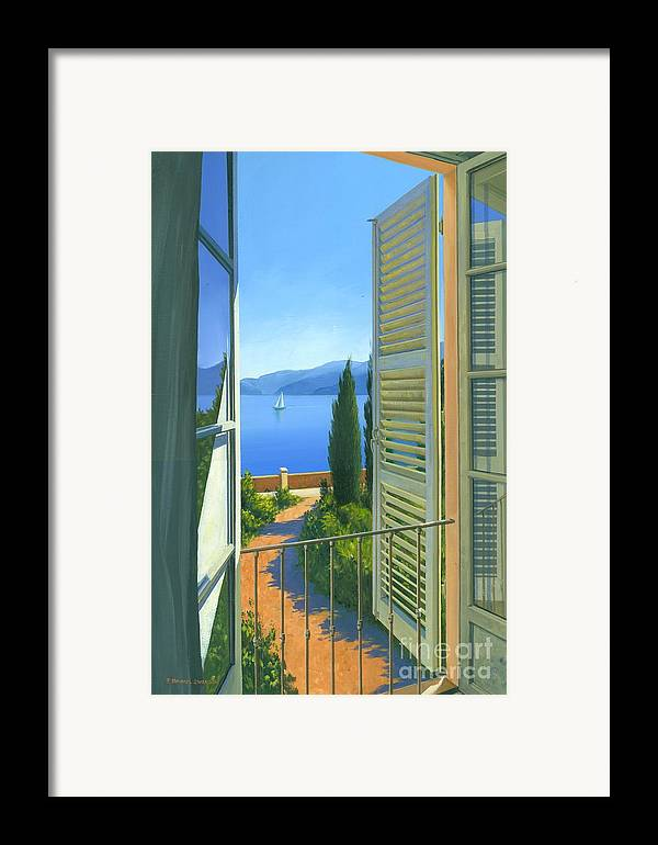 Lake Como Framed Print featuring the painting Como View by Michael Swanson