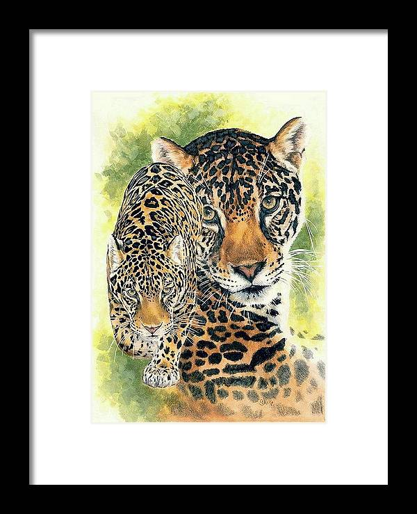 Jaguar Framed Print featuring the mixed media Compelling by Barbara Keith