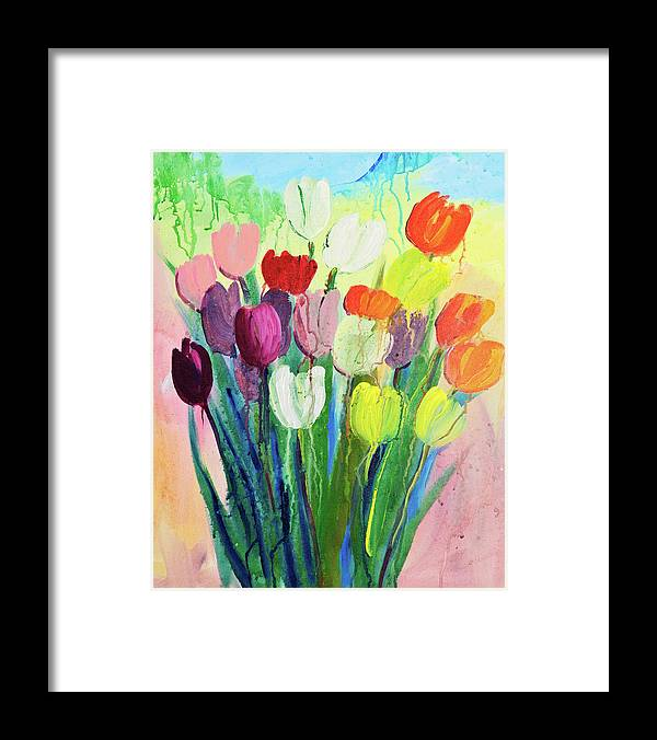Art Framed Print featuring the digital art Composition Of Flowers by Balticboy