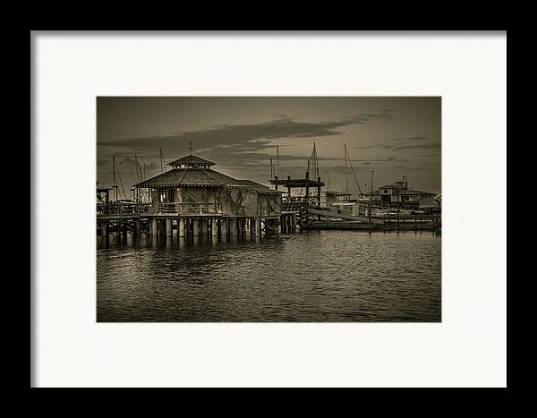 B&w Framed Print featuring the photograph Conch House Marina by Mario Celzner