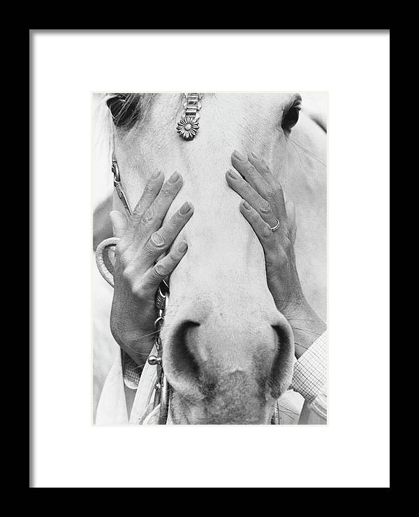 Animal Framed Print featuring the photograph Conchita Cintron Holding The Head Of A Horse by Henry Clarke