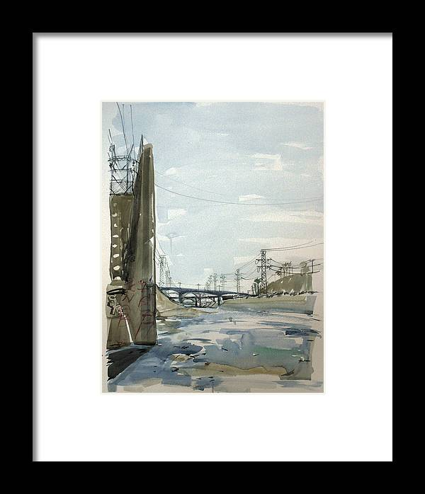Watercolor Framed Print featuring the painting Concrete Los Angeles River by Vaughan Davies