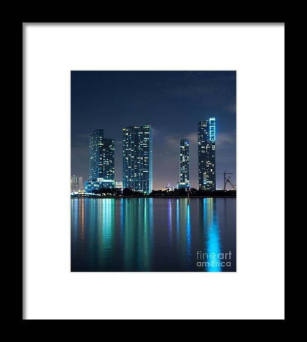 900 Biscayne Bay Framed Print featuring the photograph Condominium Buildings In Miami by Carsten Reisinger