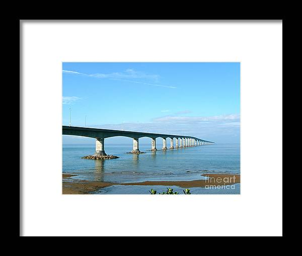 Long Bridge Framed Print featuring the photograph Confederation Bridge Canada by Rachel Gagne