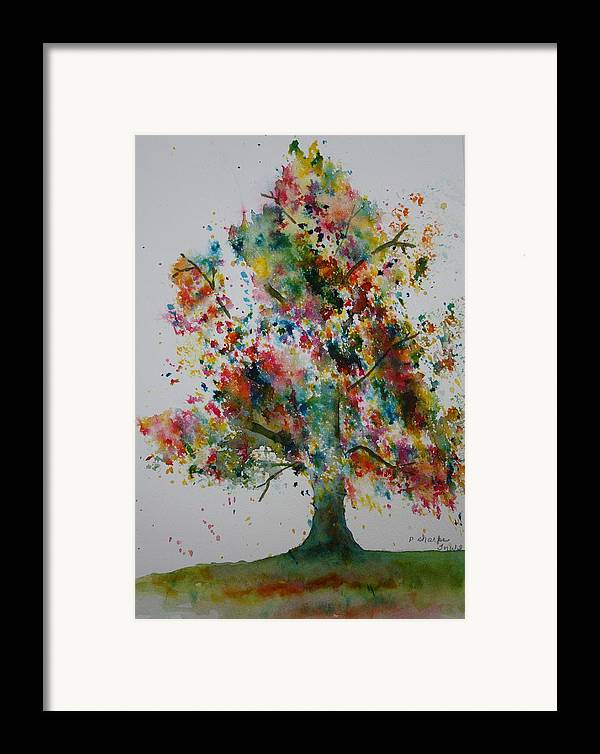 Landscape Framed Print featuring the painting Confetti Tree by Patsy Sharpe