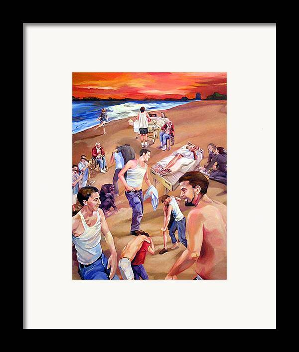 Figurative Framed Print featuring the painting Confusion At Sunset by Julie Orsini Shakher