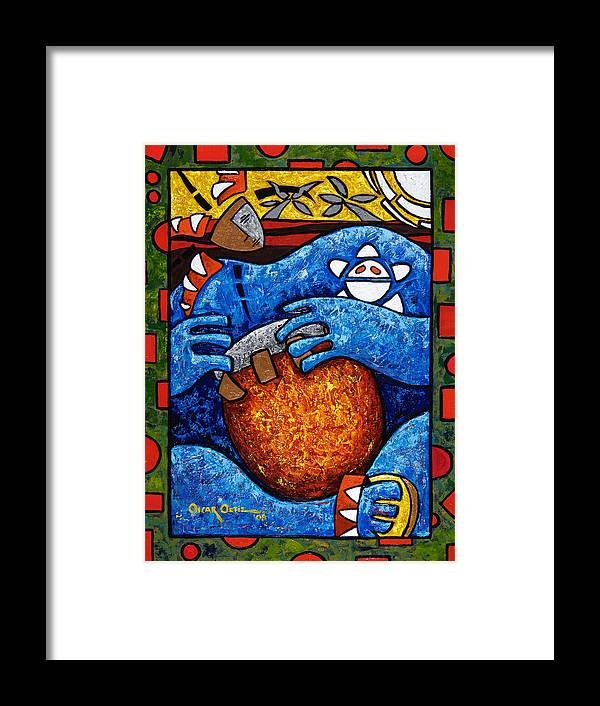 Puerto Rico Framed Print featuring the painting Conga on Fire by Oscar Ortiz
