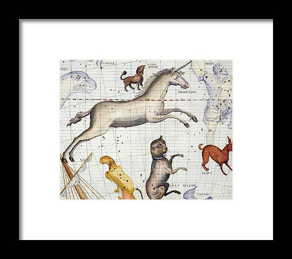 Map Framed Print featuring the painting Constellation of Monoceros with Canis Major and Minor by Sir James Thornhill